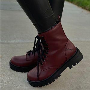 Wine/Burgundy Lace up combat boots